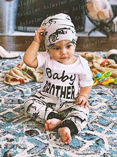 White02, 3-6 Months 3PCS Baby Boy Outfit Set Baby Brother Dinosaur Tops Little Man Pant Romper