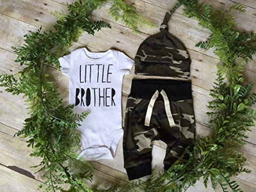 adad82e82 Pant Sets – 3PCS Newborn Baby Boys Cute Little Brother Camouflage Romper+ Pants+Hat Outfits Set,Custom Personalized Baby Bodysuit with Name ...