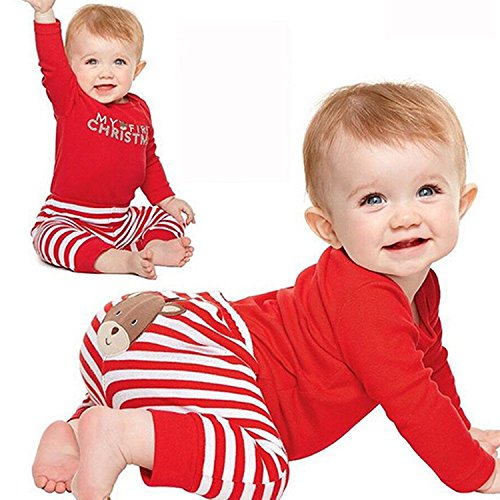 Newborn Baby Boy Girl My First Christmas Santa Romper Pants Set Clothes Outfits