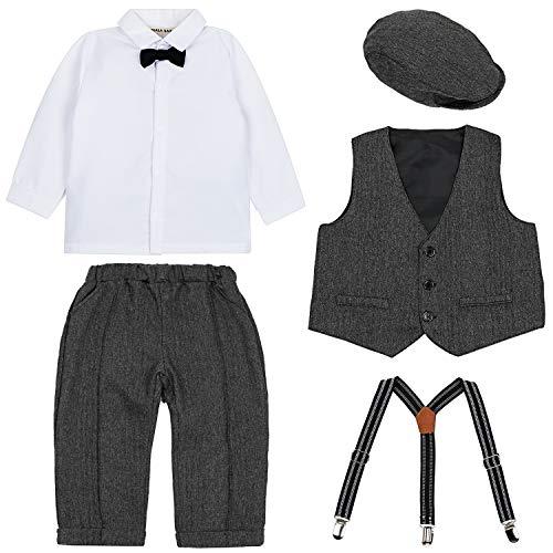 3pcs Long Sleeves Gentleman Jumpsuit /& Vest Coat /& ZOEREA Baby Boy Outfits Set