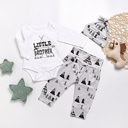 NEW Baby Boys Clothes Little Brother Romper Arrow Pants /& Hat 3PCS Outfits Set