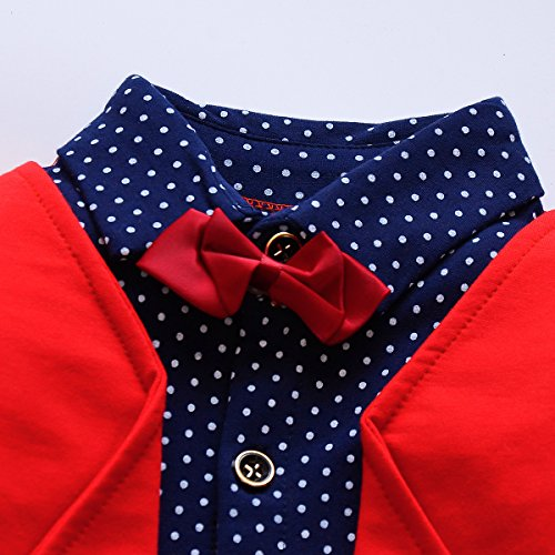 096c9cf0b040f Pant Sets – 2pcs Baby Boy Dress Clothes Toddler Outfits Infant Tuxedo  Formal Suits Set Shirt + Pants(Red, 18M)