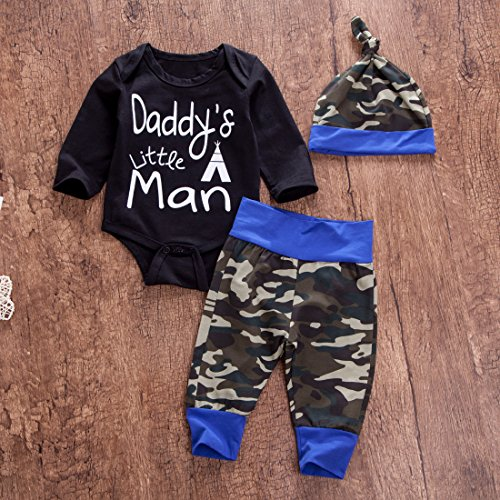 894b1ef91a12f Pant Sets – Newborn Daddy's Little Man Print Baby Boys Girls Romper +Camo  Cotton Long Pants +Hat Outfit (0-6Months, Black)
