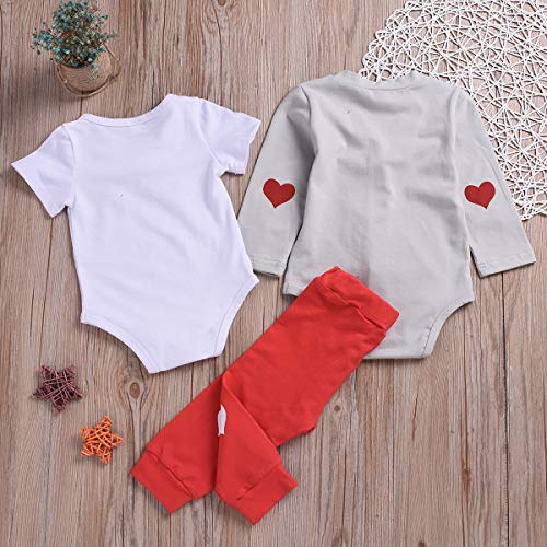 24d420633c8b Pant Sets – 3PCS Baby Boy Easter Outfits Infant Newborn Romper Pants Set  Lovely Rabbits Clothes (Red+Grey