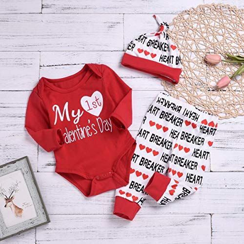 3fbb6d51 Pant Sets – 3PCS Newborn Baby Boy Girl My 1st Valentine's Day Outfit  Clothes Infant Romper + Letter Pants Hat Set