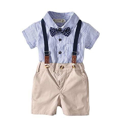 Short Sets Moyikiss Studio Fashion Summer Baby Boy Clothes Outfits Gentleman Bow Tie Shirt Tops Suspeners Shorts 2pcs Set Baby