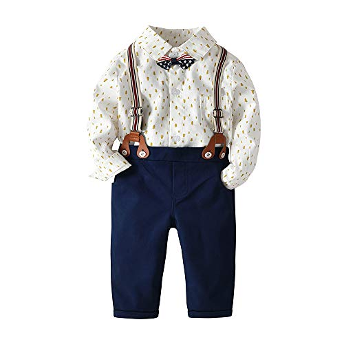 0070851ebda71 Pant Sets – BINIDUCKLING Baby Boy Formal Outfit, Infant Suit with Bow Tie  Suspender Long Sleeve White Romper Tree Print 12M