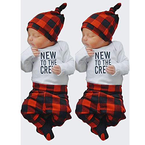 d03779723 Pant Sets – Newborn Baby Boy Girl Outfits to The Crew Print Romper Long  Sleeve Top+ Plaid Pants + Cute Hats 3pcs Clothes Set Winter (White, ...