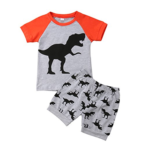 d4f2269fb9d8 Summer Baby Boys Clothes Short Sleeve Tops+Pants Tee Denim Clothes Letter Printed  Stylish Outfit Sets (2-3 Years, Orange)